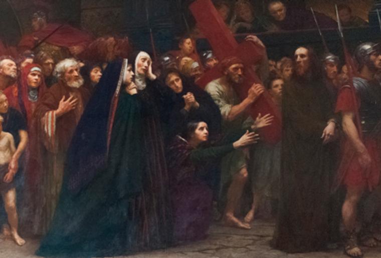 Huile sur Toile_Eugène Burnand_Voie douloureuse ou Jésus conduit au calvaire_1904-1905.png