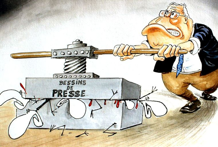 PRESSE - Dessin Burki - 2010 - Blocher veut modifier l'émission Infrarouge à cause de caricatures de Mix & Remix.jpg