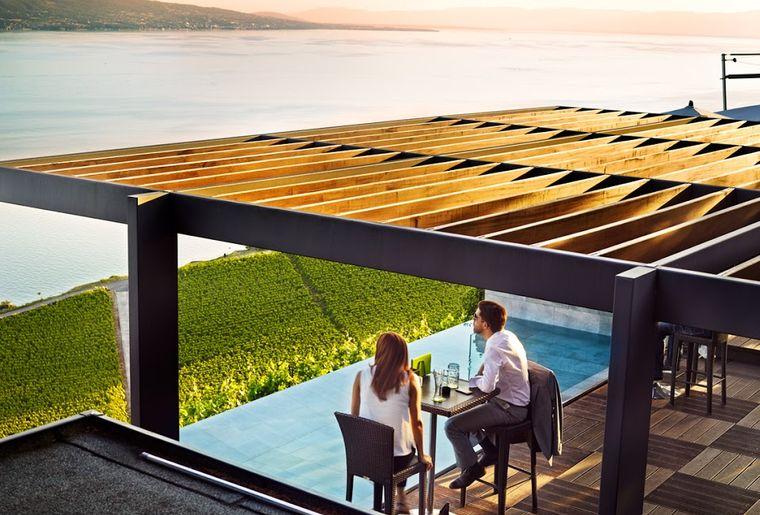 Plus belles terrasses de Suisse romande - Le Deck à Chexbres - vue sur le vignoble de Lavaux et le lac Léman