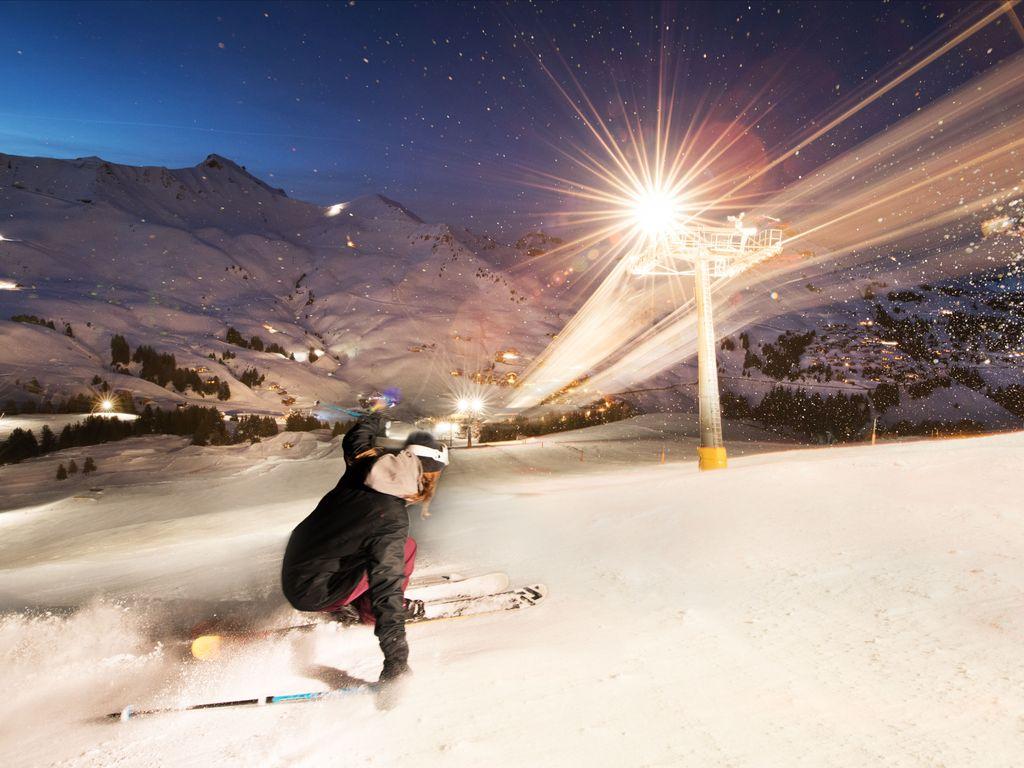 Ski nocturne dans la station des Crosets aux Portes du Soleil