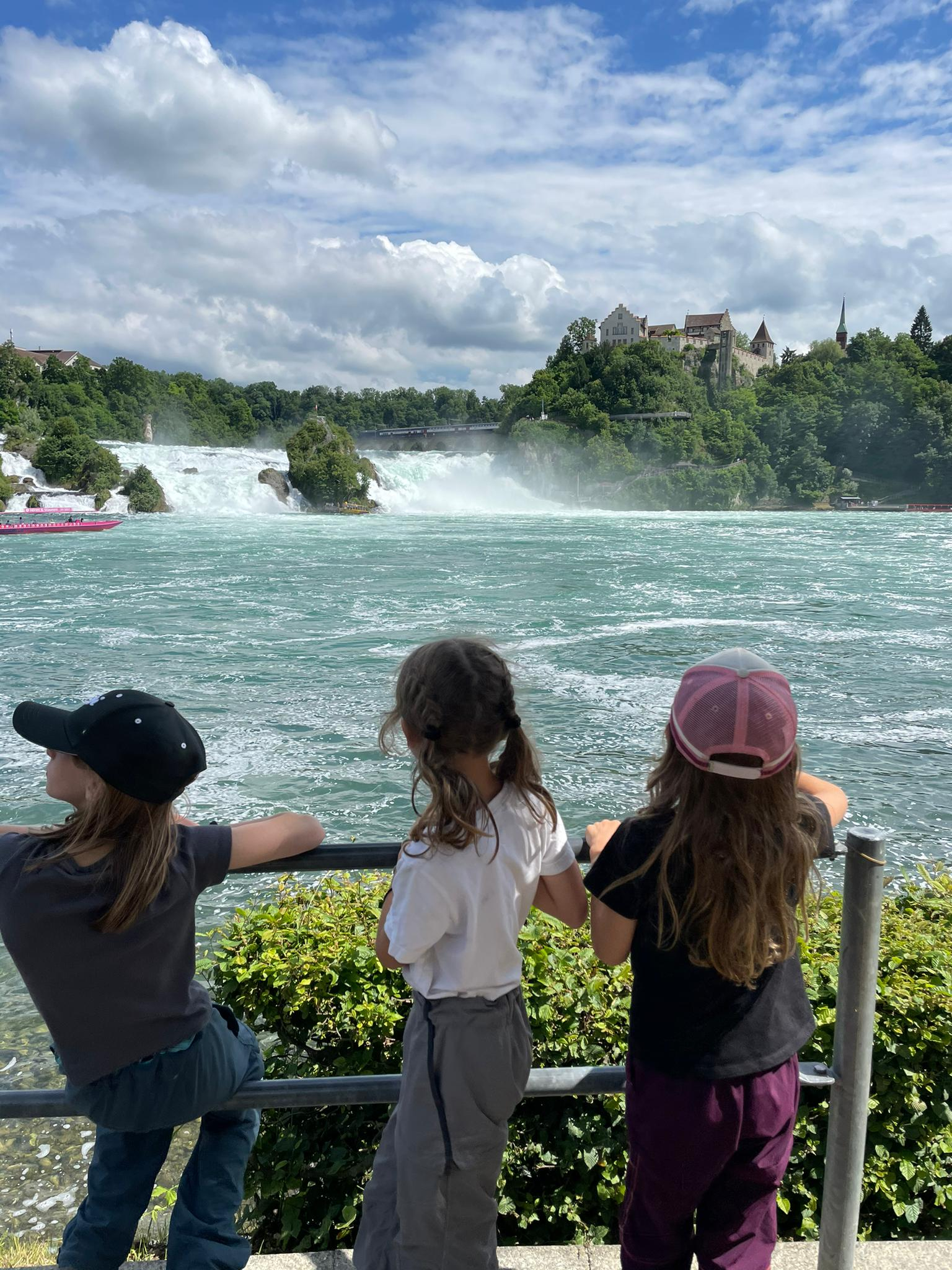 Voyage de la famille Cavadini: les chutes du Rhin